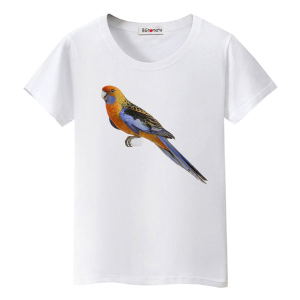 Women popular style hot sale 3D parrot colorful tshirt - UNVACANAL