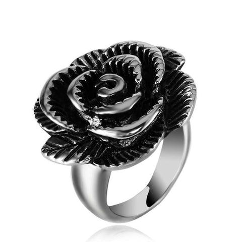 Stainless Steel Ring Trendy Simple Ladies Rose Rings For Party & Gifts - UNVACANAL