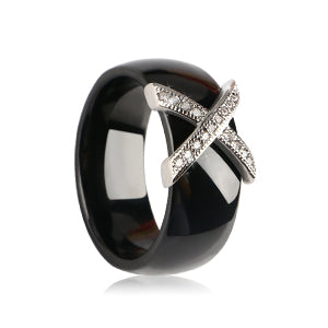 New Fashion Jewelry Women Ring With AAA Crystal 8 mm X Cross Pink Black White Ceramic Rings - UNVACANAL