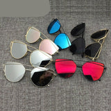 Vintage Metal Reflective  Brand Designer Cat eye Sunglasses for Women