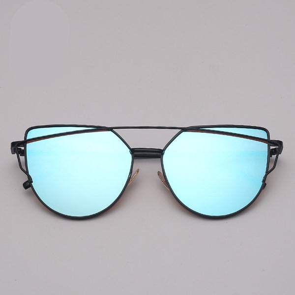 Vintage Metal Reflective  Brand Designer Cat eye Sunglasses for Women - UNVACANAL