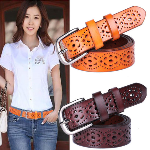 New Women Fashion Wide Genuine Leather Without Drilling Luxury Jeans Belts