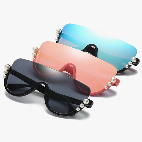 Luxury Brand Design Pearl Diamond Rimless Women Sunglasses