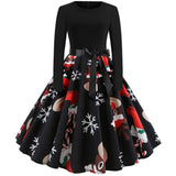 Long Sleeve Casual Plus Size Print Black Dresses