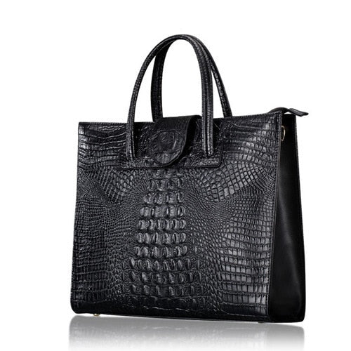 High Quality Crocodile Pattern Cowhide Women's Leather Handbag - UNVACANAL