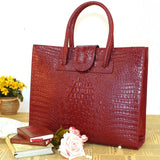 High Quality Crocodile Pattern Cowhide Women's Leather Handbag