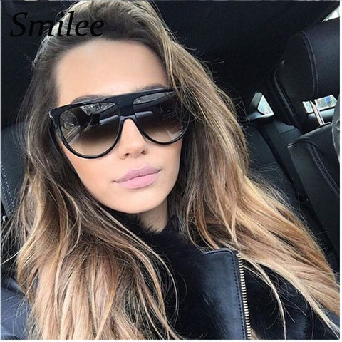 Woman vintage retro flat top Thin Shadow sunglasses