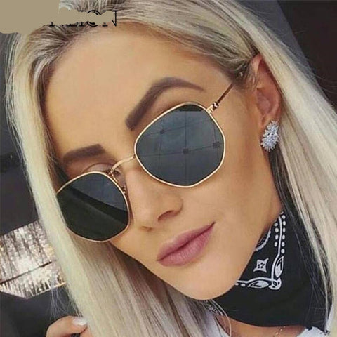 Luxury Retro Metal Polygonal Sunglasses for Women