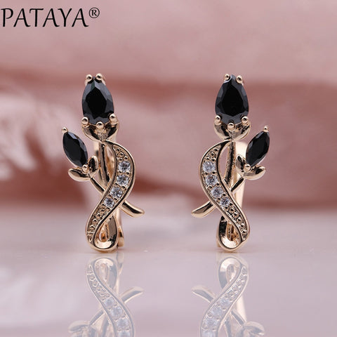 New Rose Flower Earring Women Fashion Original Zircon Dangle Earrings - UNVACANAL