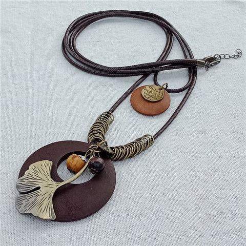 Fashion Handmade Jewelry Wearing Multiplayer Rope Leather Alloy Wood Necklace