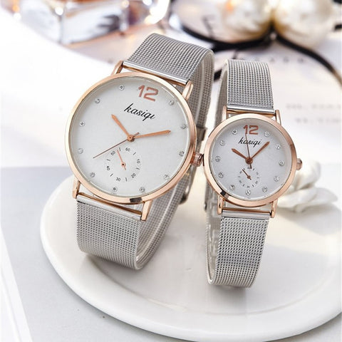 Stainless Steel Rhinestone Luxury Quartz Wristwatch For Lovers - UNVACANAL