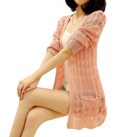 Fashion Knitted Loose Pocket Hollow Long Sleeve Women Sweater