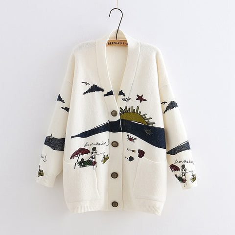 New Girl V-neck Jacquard Cardigan