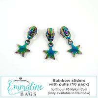 Large Star Zipper Pulls - #5 - Rainbow