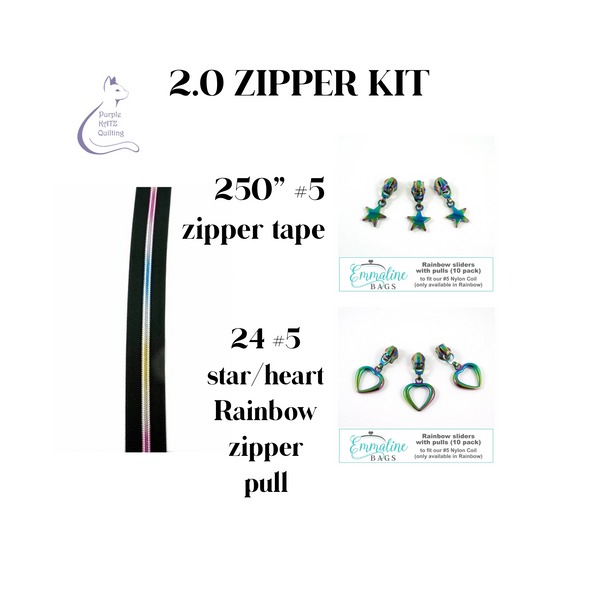 2.0 ZIPPER KIT - Rainbow Zipper Tape & Pulls #5
