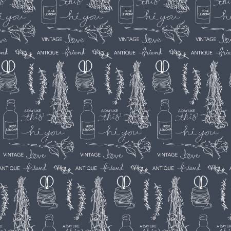 "Idyllic Text - wide back Grey 108"" -"