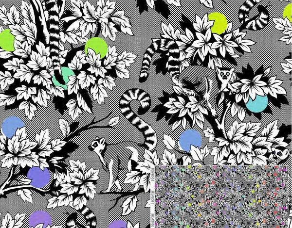LineWork by Tula Pink PWTP154 INK - Lemur Me Alone