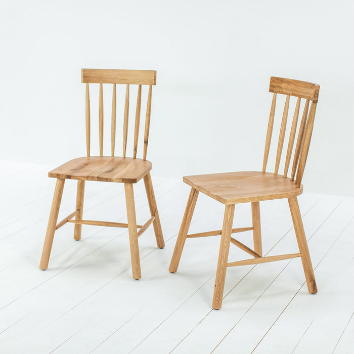 A Pair of Helford Oak Dining Chairs - Farmhouse Table Company
