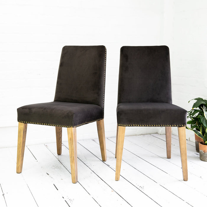 A Pair of Mouse Velvet Rex Dining Chairs - Farmhouse Table Company