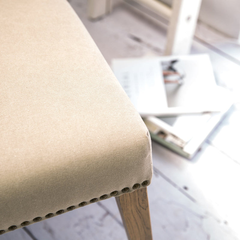 A Pair of Cement Linen Rex Dining Chairs