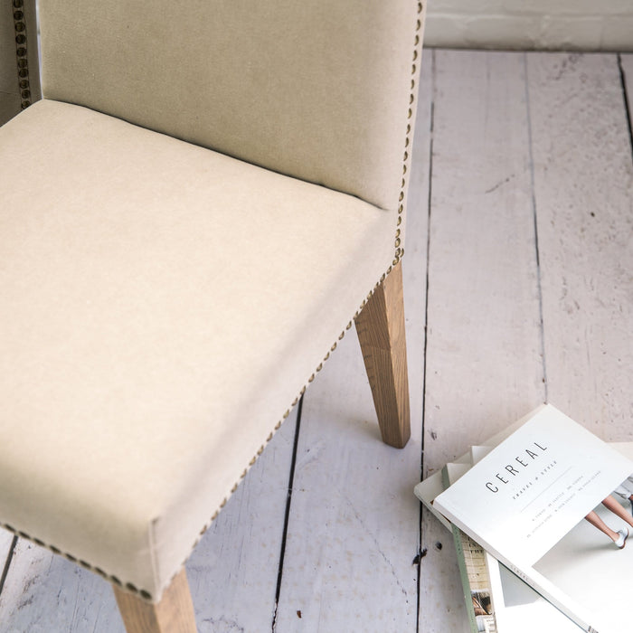 A Pair of Cement Linen Rex Dining Chairs - Farmhouse Table Company