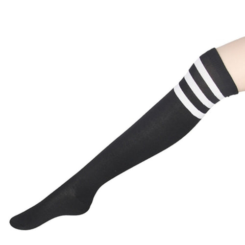 daintyWear: Sleek Black Knee-High Socks with White Stripes