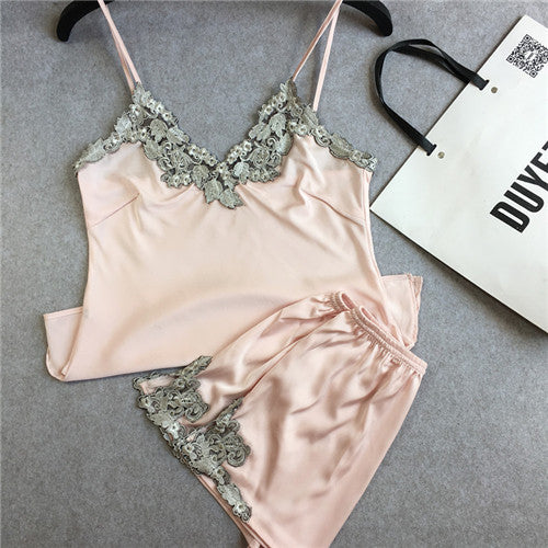 Dainty Wear: Pretty Satin Lace  Pyjama Set