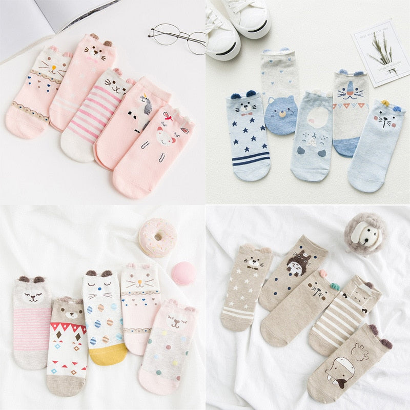 daintyWear: dW Assorted Animals and Shapes Slipper Socks Bundle