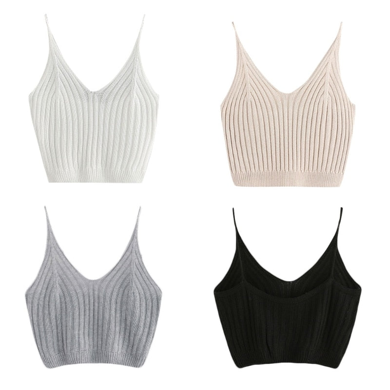daintyWear: dW Cotton Knit Ribbed Crop Top