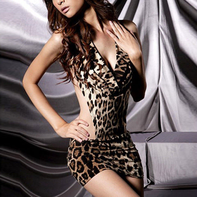 Hot Women Erotic Lingerie Backless Leopard Erotic Dress Evening Sleepwear Nightgown Sex Dress Ladies Sexy Lingerie