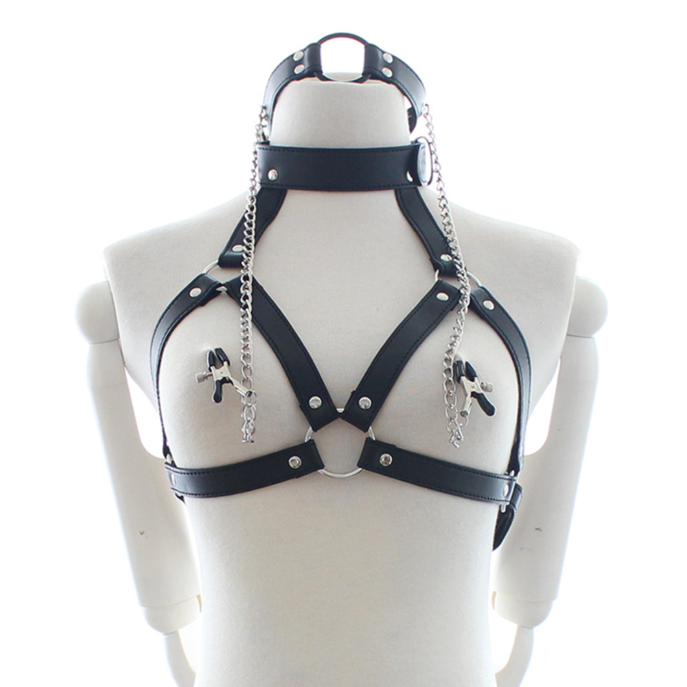 PU Leather Restraints Neck Bondage Nipple Chain Clamps Couples Fetish Erotic Adult Games Sex Toys
