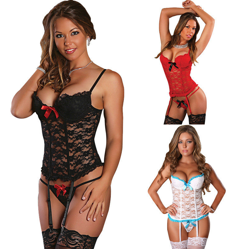 Sexy Babydoll Lace See Through Erotic Costumes For Women Sex Underwear Hot Sexy Erotic Lingerie Lace Sleepwear + Sexy Stockings