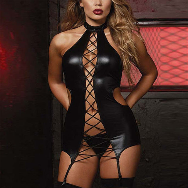 M/5XL Plus Size Lingerie Sex Costumes Women Black Leather Erotic Lingerie Sexy Underwear Porn Teddy Babydoll Erotic Dress