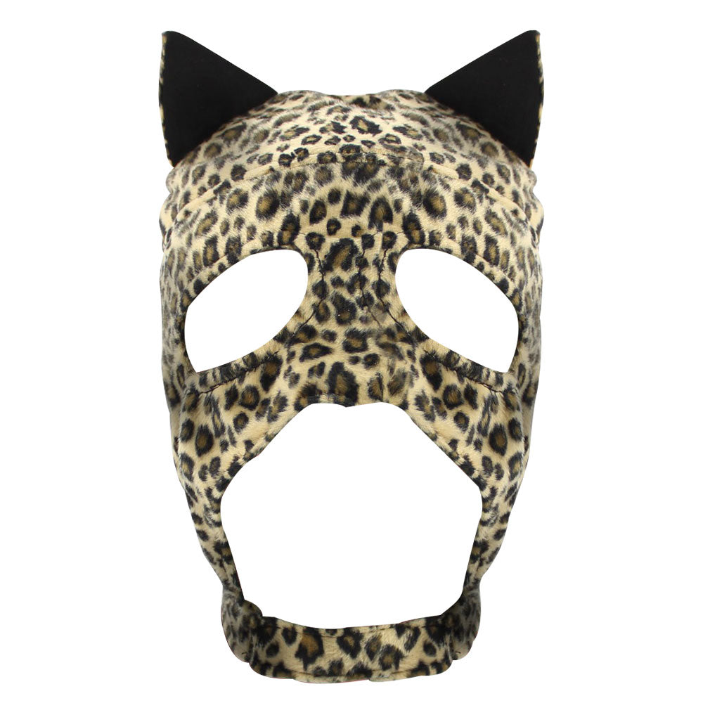 New Style Fetish Leopard Cat Mask Hood Open Mouth Eye Bondage Party Mask Cosplay Headgear Adult Game Sex toys