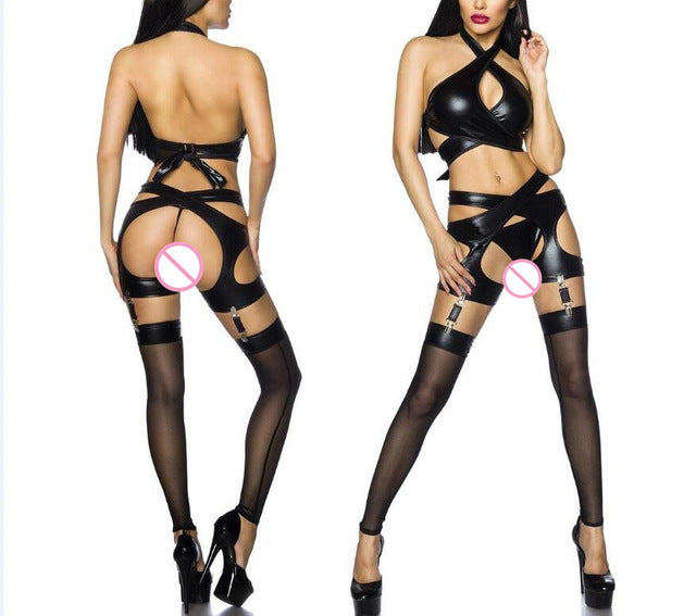 Women Hot Three-point Halter Sexy Lingerie Faux Leather Costumes Sex Erotic Bodydoll Sexy Underwear With Gather