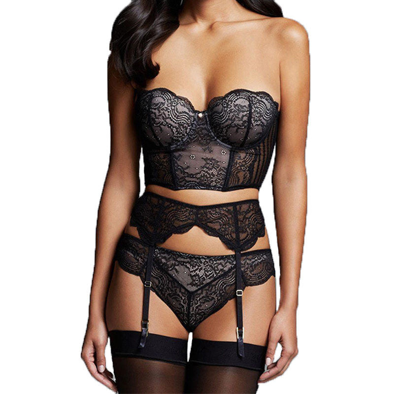 Erotic Lingerie Sex Clothes For Women Black Lace Transparent Bra + Garter Belt + Thong Plus Size Lingerie Sexy Costumes Babydoll