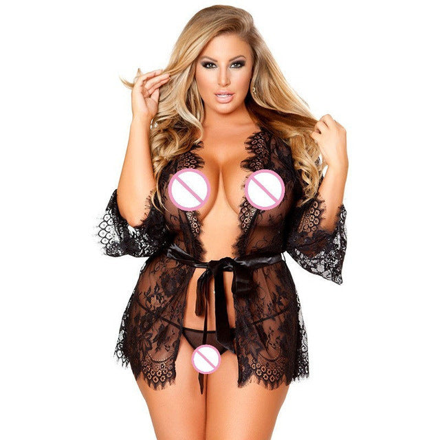 XXL/4XL/5XL/6XL/7XL/8XL/9XL Porno Lace Baby Doll Sexy Lingerie Bathrobe Erotic Dress Women Lingerie Sexy Hot Erotic Sex Nightgown Underwear