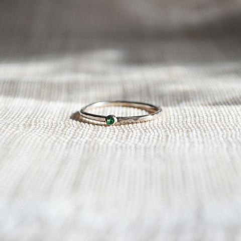 white gold 14k ring emerald stone
