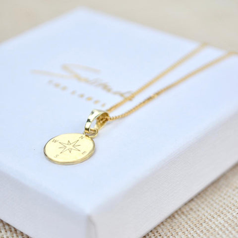compass necklace 14k gold