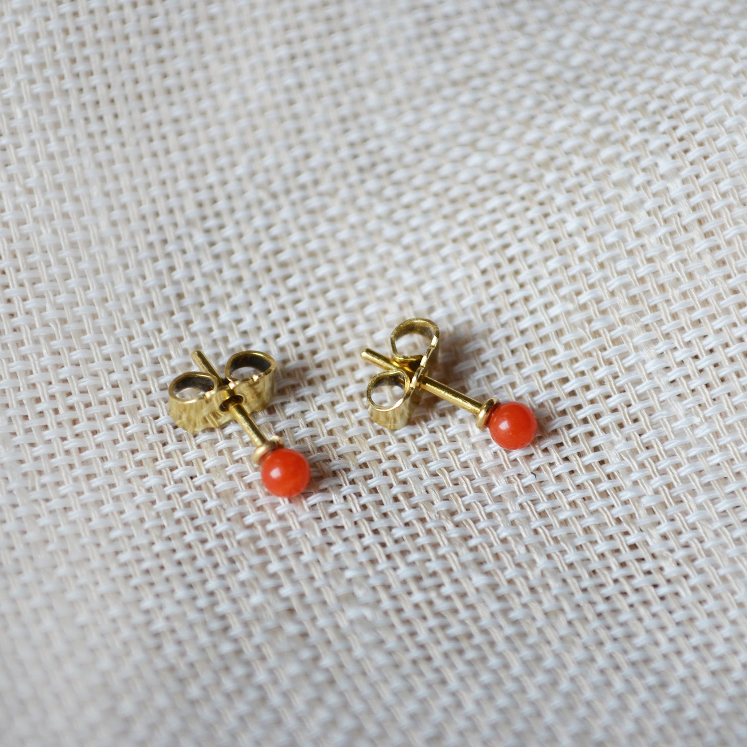 Coral Earpins - 14K GOLD