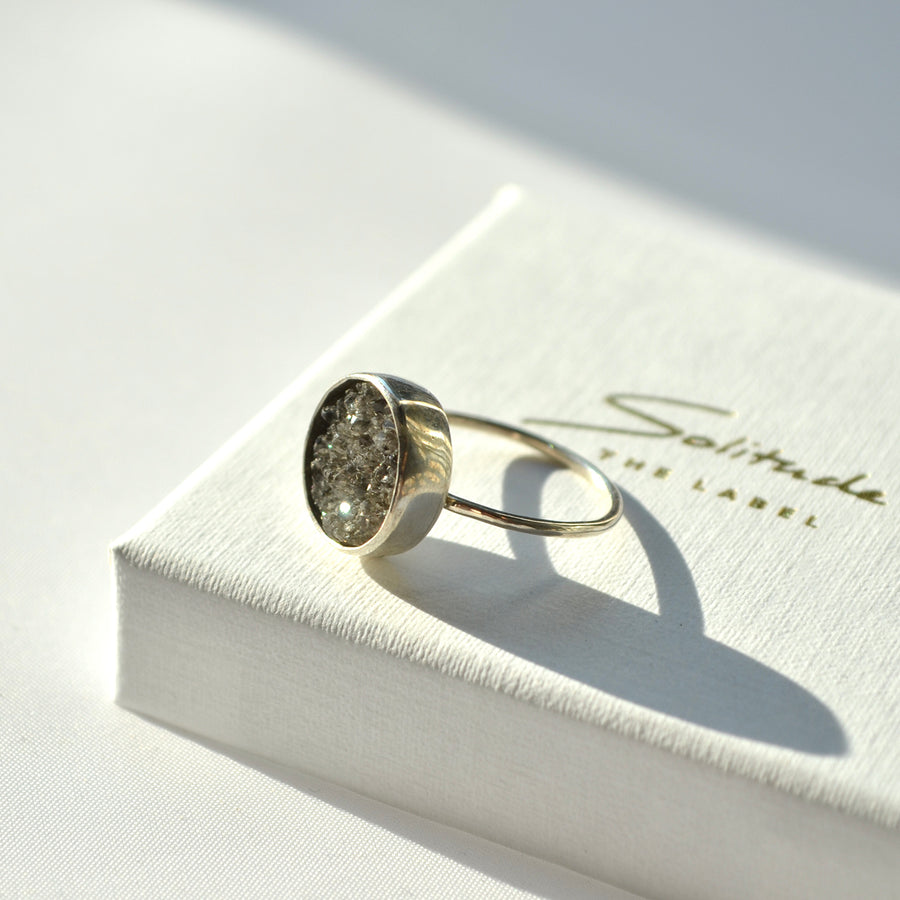 Space Grey Crystal Ring - Silver