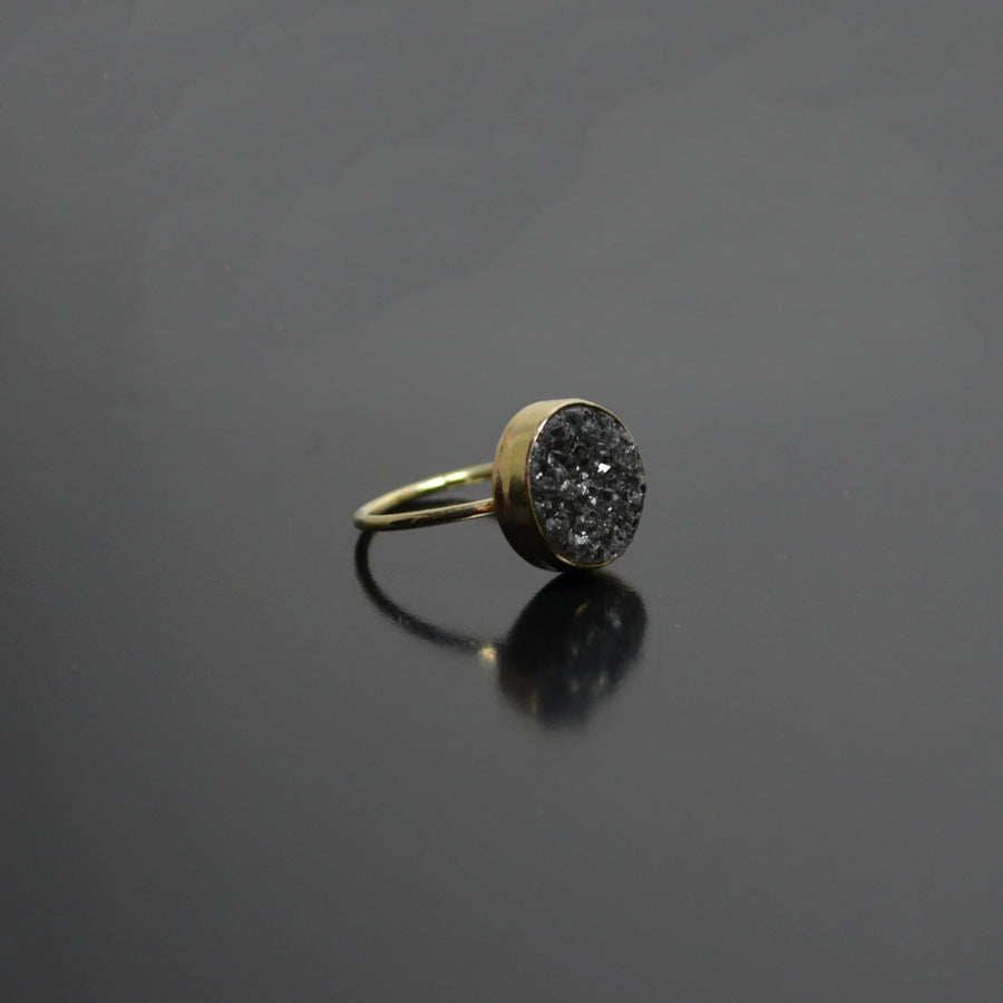 Space grey Crystal Ring - 14K goud