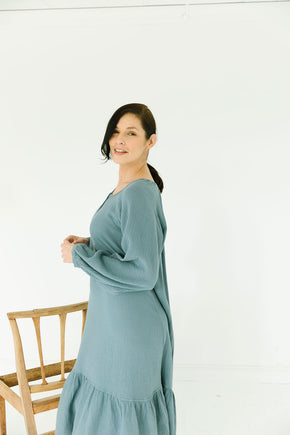 The James Dress in Blue Gray