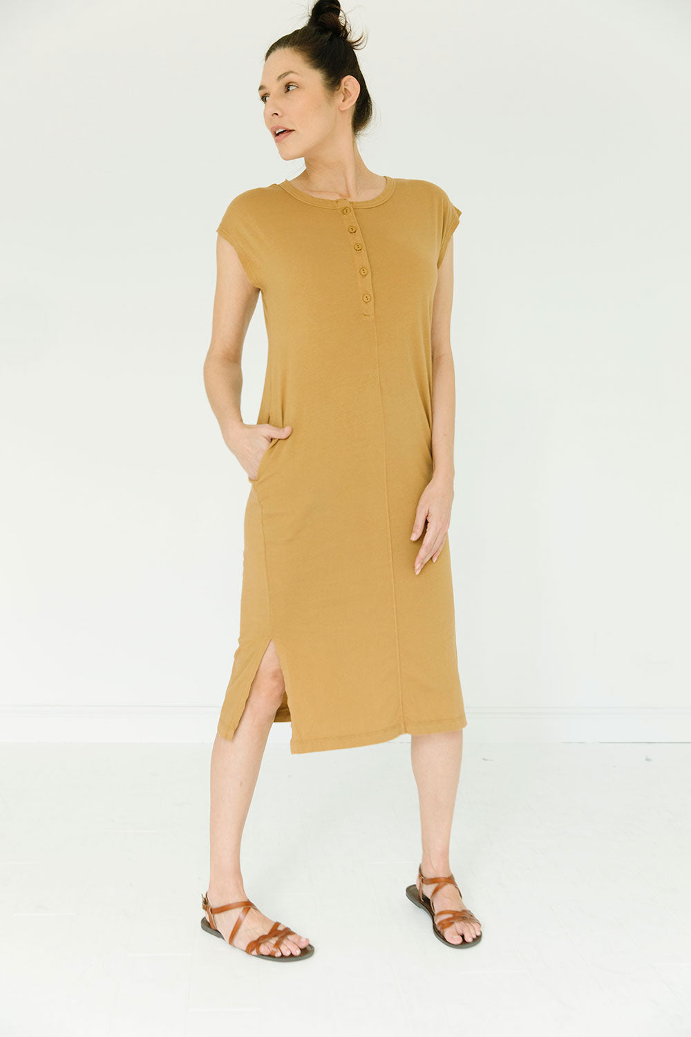 The Organic Market Dress in Bone Brown (2XL)