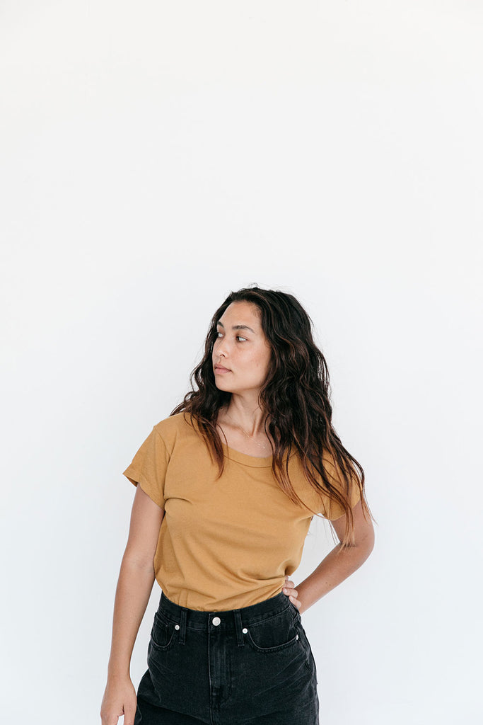 The Organic All Day Tee in Bone Brown