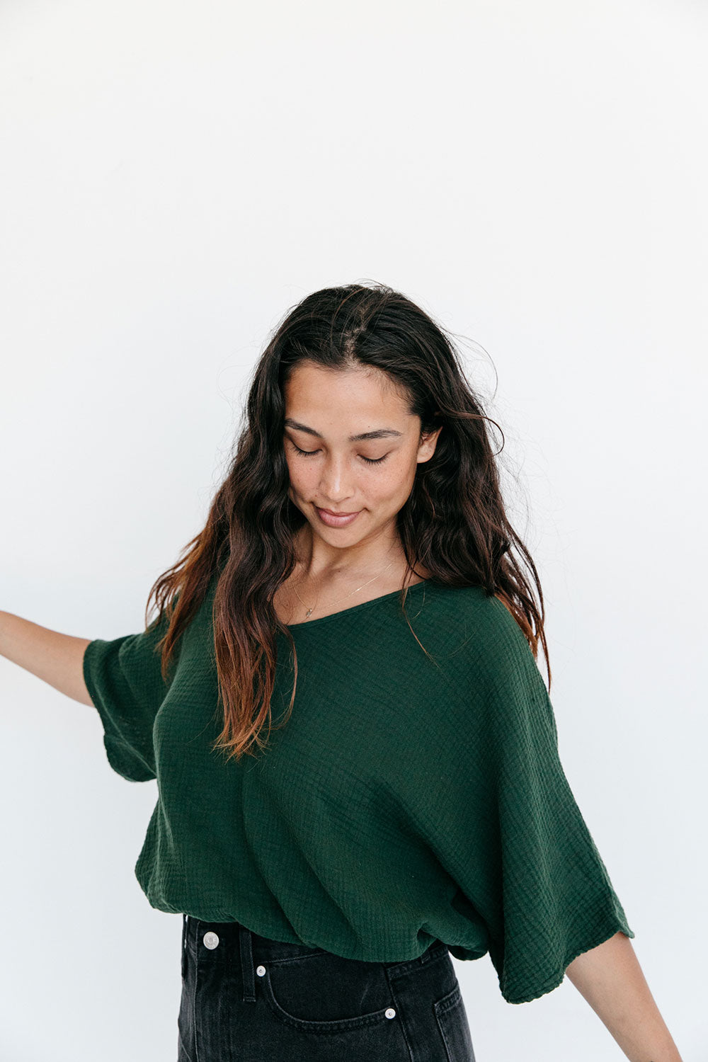 The Gauze Dolman Top in Kombu