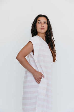 The Cocoon Dress in Spanish Villa Stripe