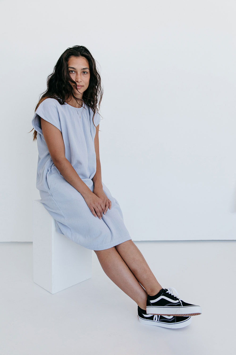 The Cocoon Dress in Gray Dawn