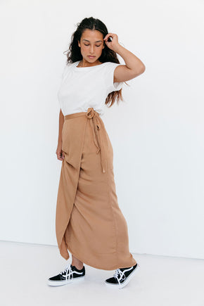 The Wrap Skirt in Almond