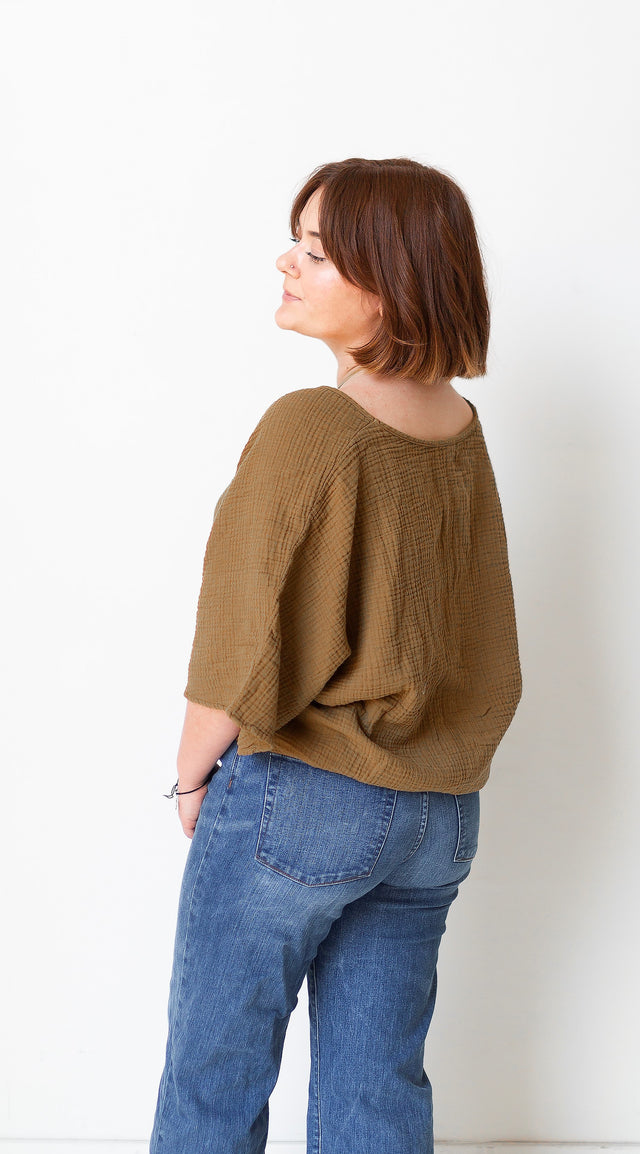 The Gauze Dolman Top in Tapenade